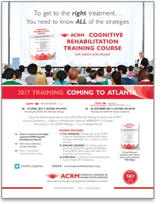 ACRM Cognitive Rehabilitation Training Flyer